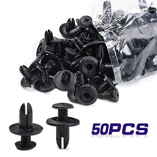 50 St/ück Kunststoff-Niet-Schwarz Kunststoff Automobil-Rivet Auto Clip Schraube Karrosserie Push-Fasteners Trim for Universalfahrzeuge HANLING-MD