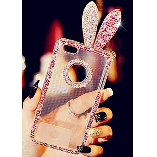 EVTECH(TM) for iPhone 6 Plus/iPhone 6s Plus inch Rabbit Bunny Ear 3D Handmade Fashion Crystal Rhinestone Bling Case Cover TPU soft Case Clear(100% Handcrafted)