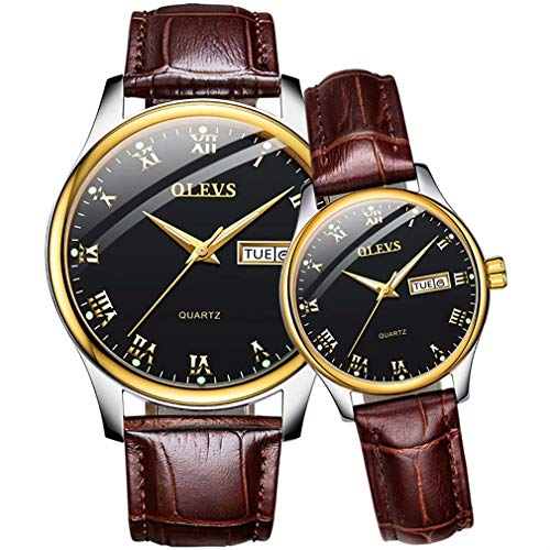 Him and Her Set Gifts Waterproof Leather Quartz Male Ladies Pair of Watches for Men and Women Classic Luminous Calendar Week Female Wrist Watch Business Casual Lovers Watch Set ()