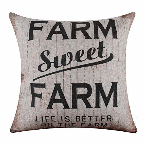 Acelive 20x20 inches Vintage Farmhouse Farm Sweet Farm Burlap Pillowcase Throw Cushion Cover For Sofa Bedroom Living Room Square Holiday Gift