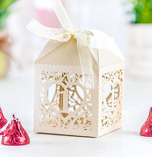 50PCS Baby Shower Favor Boxes, 2.2 x 2.2 Love Heart Favor Boxes for Baby Shower Decorations, 1st Anniversary, First Birthday Party, Baby Birthday Supplies (Ivory)
