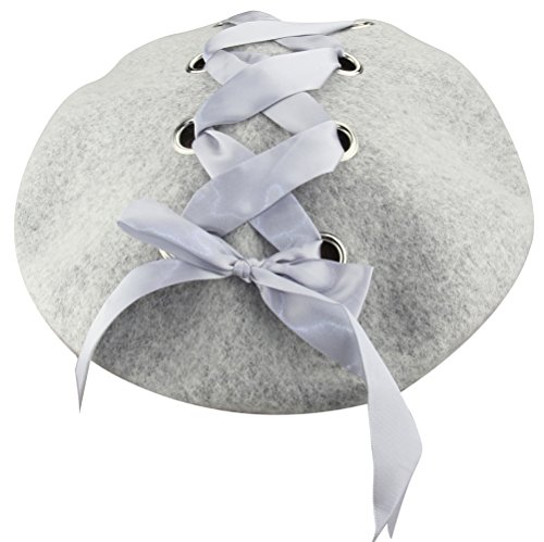 Wool Beret Hat (MINAKOLIFE Womens French Artist Solid 100% Wool Beret Hats with Rivets Ribbon (Grey))