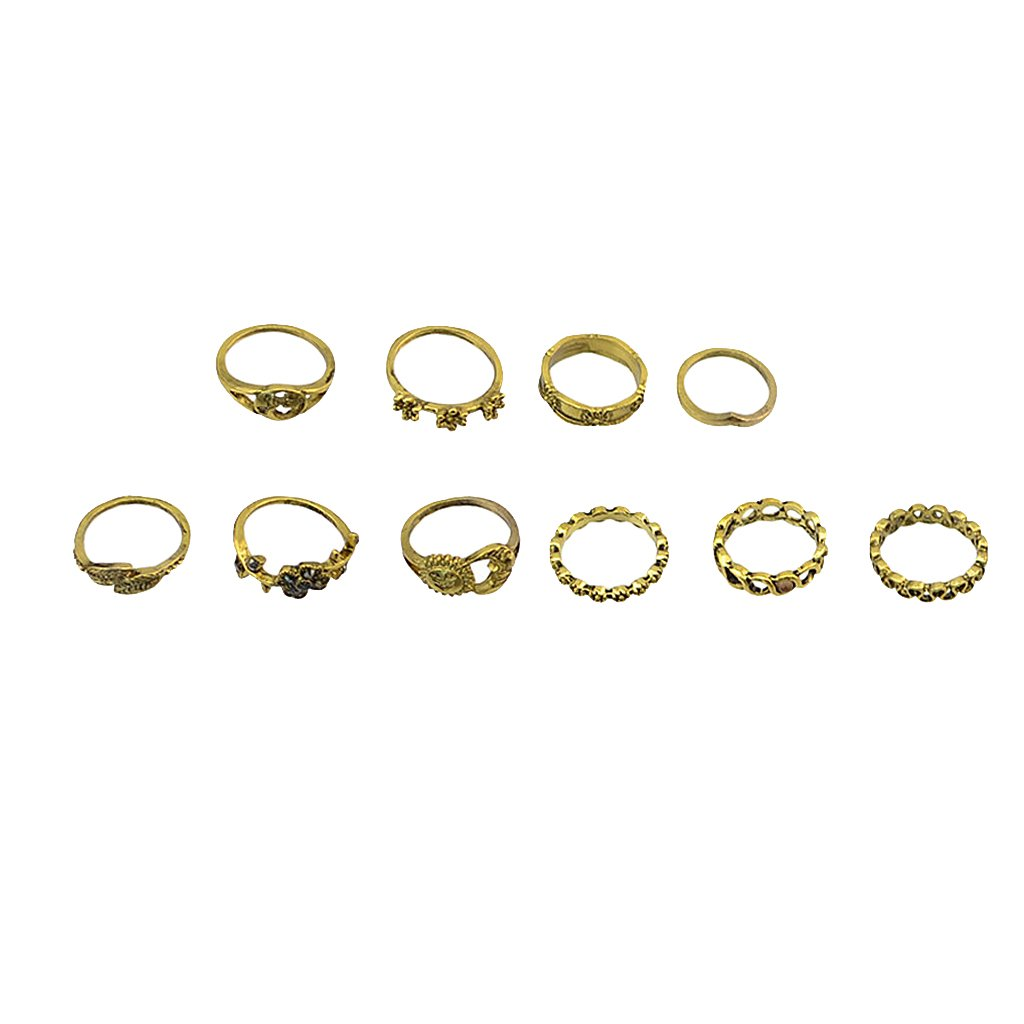 Dolity 10 Pieces Vintage Women's Opening Flower Midi Mid Finger Bnad Tip Stacking Ring Set