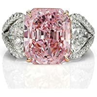 Nongkhai shop Women Fashion 925 Sterling Silver Pink Sapphire White Topaz Bridal Ring Jewelry (6)