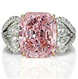 Nongkhai shop Women Fashion 925 Sterling Silver Pink Sapphire White Topaz Bridal Ring Jewelry (9)