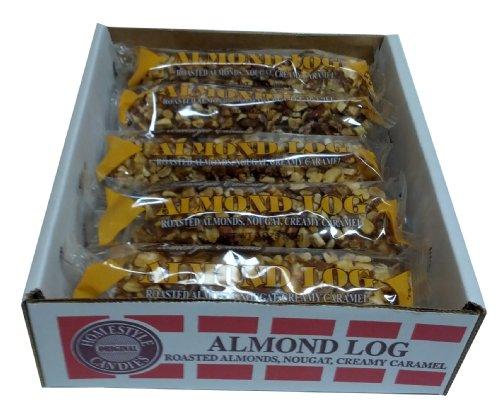 Pecan Logs Caramel (Almond Logs - Crown Candy (12 Individually Wrapped 3oz Almond Logs Per Box))