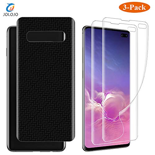 (JOLOJO Galaxy S10 Plus Screen Protector Film [3 Pack] Full Cover 3D Touch Feeling Front and Back [Easy Install] Bubble Free for Samsung Galaxy S10 Plus 6.4 inch)