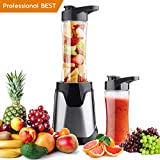 Professional Personal Small Blender Smoothie Maker,with 300 Watt,Portable ElectricHigh-Speed Blender for Smoothies, Ice and Frozen Fruit, with Tritan Travel Sport Bottle, BPA-Free