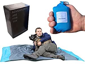 Pocket Blanket by Treadway - Over 6ft x 4ft - Camping/Beach/Picnic blanket - Ultra-lightweight, water-repellent, 6 pockets, 4 stake loops, fold any way to repack, carabiner included. (Blue)