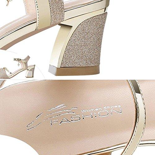 Sandals CJC Lady's Shiny Roman Open Toe Ankle Strap Shoes High Heel (Color : T1, Size : EU36/UK4) T1
