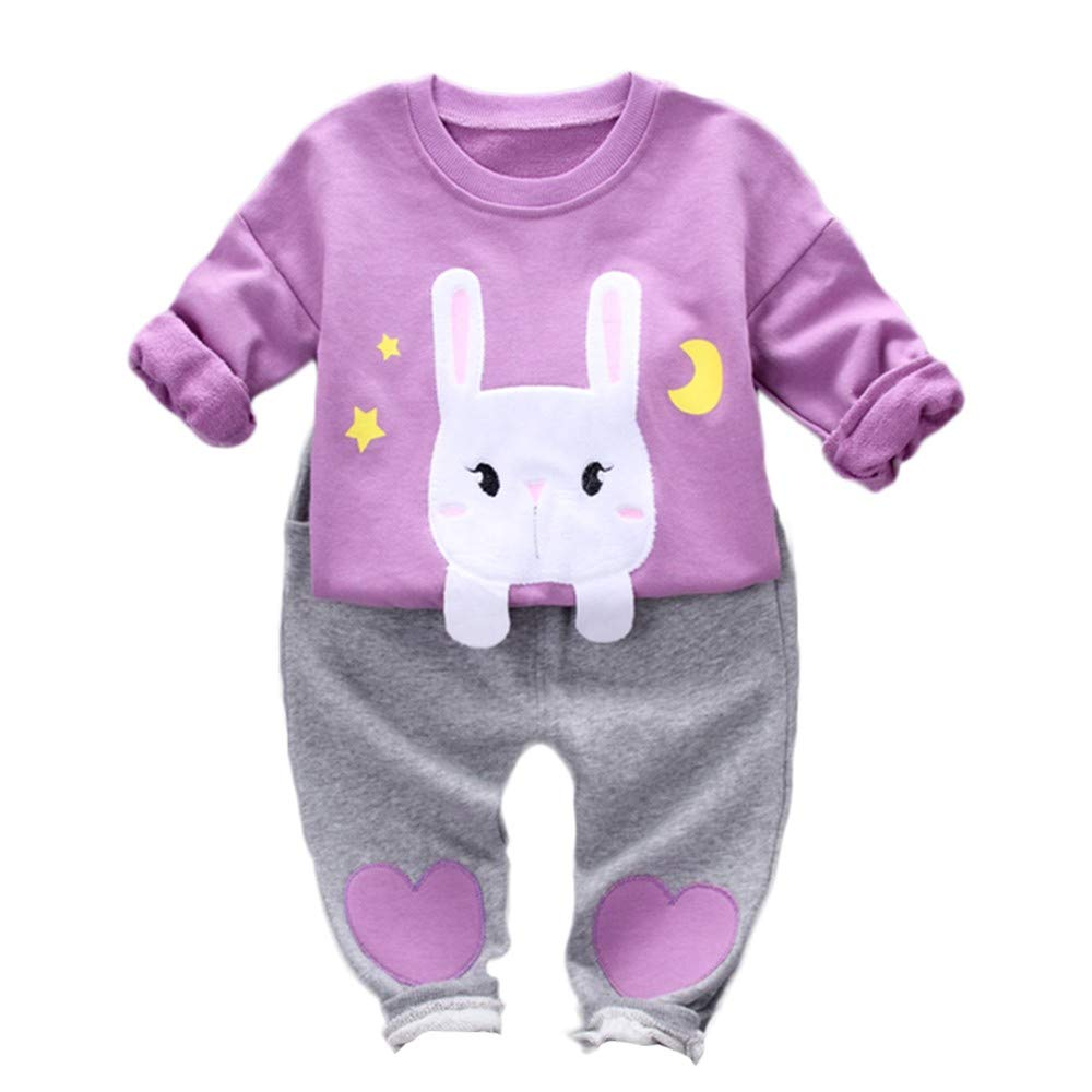 Clearance 1-3 Years Toddler Baby Girl Cute Rabbit Print Tops Long Sleeve Shirt Blouse Heart-Shaped Pants Set Outfits