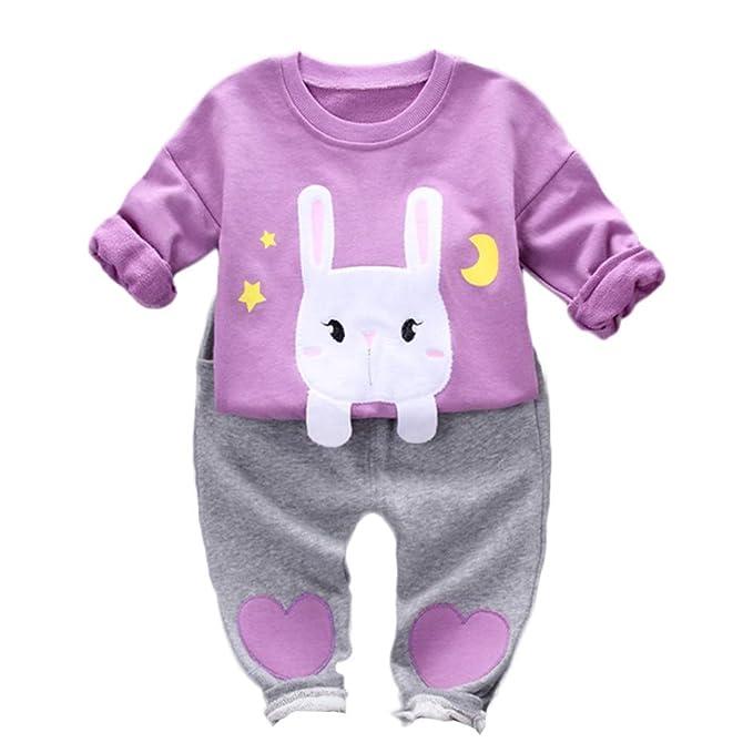 K-youth Conjuntos Bebe Niña Sudaderas Bebé Niño Niña Conejo de Dibujos Animados Camisetas de Manga Larga Blusas Tops y Pantalones Ropa Bebe Niña Invierno ...