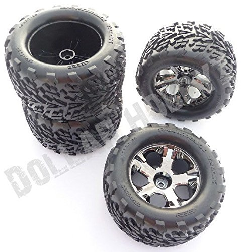 Traxxas Stampede 2wd XL-5 4 TALON TIRES & ALL STAR BLACK CHROME 12mm