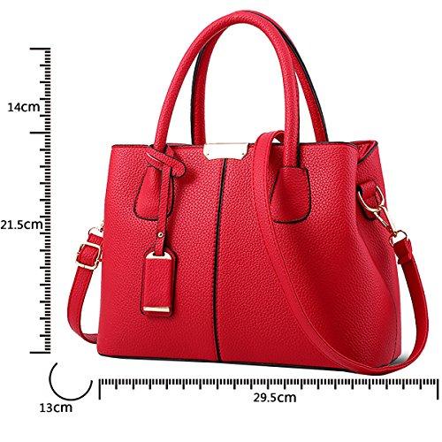 Simple Color Handbag Leather Tisdaini wine Shoulder PU Bag Simple Red Women Fashion Messenger Wallet qntngHA