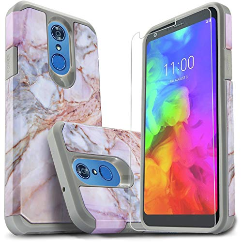 LG Q7 Plus Case, LG Q7 Case with [Premium HD Screen Protector Included], Starshop [Shock Absorption] Dual Layers Impact Advanced Protective Phone Cover Compatible For LG Q7 Plus/LG Q7 Marble Pattern