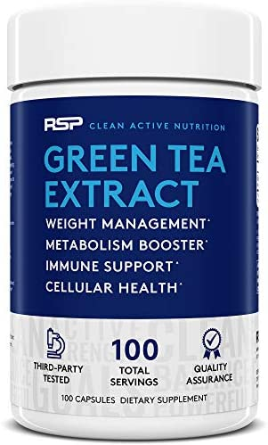 RSP Green Tea Extract with EGCG, Weight Loss Supplement for Men and Women, Antioxidant Metabolism Support, Cellular Health, Stimulant Free Energy, 100 capsules Packaging May Vary