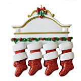 Personalized White Mantle Family of 8 Christmas Ornament for Tree 2018 - Garnished Fireplace Glitter Stockings - Parent Children Friend Winter Activity Tradition Grandkid - Free Customization (Eight)