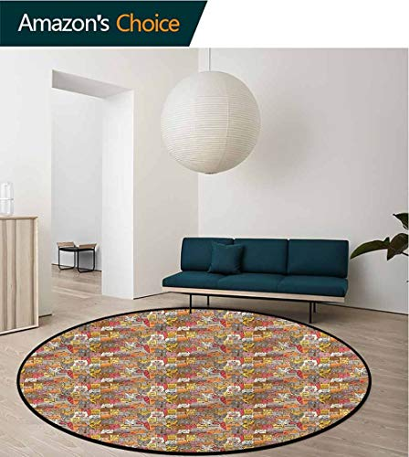 RUGSMAT Cat Warm Soft Cotton Luxury Plush Baby Rugs,Psychedelic Comic Mascots Foam Mat Bedroom Decor Bedroom Round-35 ()