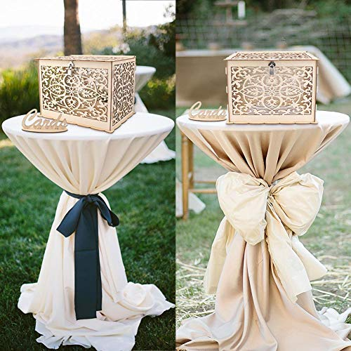 Wmbetter Wedding Card Box with Lock Rustic Wooden Card Box Gift Card Holder DIY Money Box Perfect for Weddings,Baby Showers,Birthdays,Graduations Hold up 225 Cards