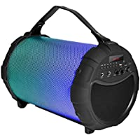 SereneLife Portable Wireless Bluetooth Boombox Stereo Speaker & FM Radio System for iPhone & PC w/ Digital Display, LED Color Changing Lights, Rechargeable Battery, 3.5mm Aux & USB/SD Slots (SLBSP18)