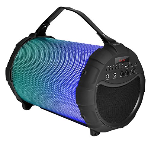 SereneLife Portable Wireless Bluetooth Boombox Stereo Speaker & FM Radio System for iPhone & PC w/ Digital Display, LED Color Changing Lights, Rechargeable Battery, 3.5mm Aux & USB/SD Slots (Tube Portable Speaker)