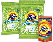 Ace Naturals Detergente en Polvo, 2 Paquetes de 800gm c/u + Ace Detergente Líquido Uno Para Todo de 700 ml