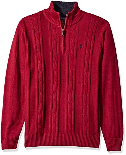 U.S. Polo Assn. Men's Solid Cable 1/4 Zip Sweater, Brick Heather, Small by U.S. Polo Assn.
