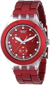 Swatch DIAPHANE CHRONO - Reloj de caballero de cuarzo, correa de acero inoxidable color rojo (con cronómetro)