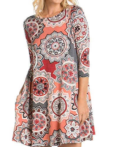 with Buauty Damask Pockets Print Shirt Floral Pink Sleeveless Summer Women Casual T floral A Dress v1wqgrv4t