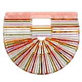 Womens Ark Bamboo/Acrylic Clutch Handbag Large Tote Bag Beach Bag (multicolor)