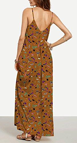 Boho Casual Estivi Abito Cocktail Cerimonia Abbigliamento Vestiti Floreale Vintage Scollo Sundresses Da Maniche Mare Senza V Marrone Vestito Eleganti Backless Abiti Stampati Donna Lunghi Maxi Spiaggia FxCEqBw7x