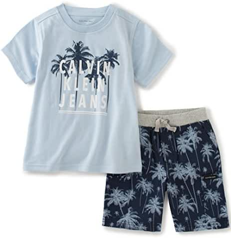 Calvin Klein Baby Boys' 2 Pieces Tee Short Set-Crew Neck, Light Blue