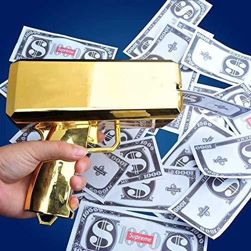 LIVIQILY Money Gun Toy Make It Rain Money Gun Chrome Gold + 100 PCS Bills