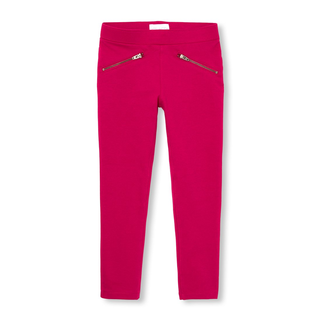 The Children's Place Big Girls' Solid Zip Jeggings, Neon Scarlett, 8
