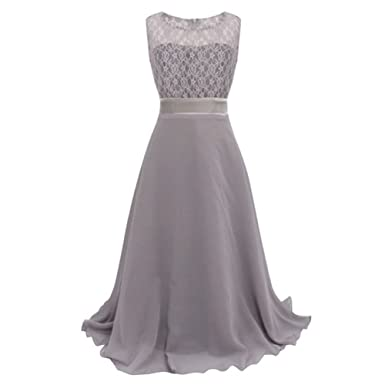 Free Fisher girls Chiffon Gown Dress, Gray, 7-8 Years