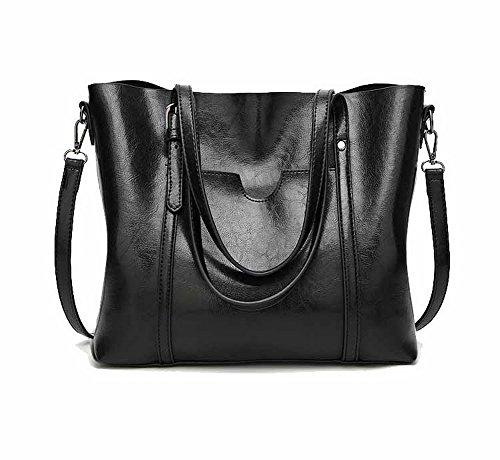 Odomolor Women's Compras Casual Bolsos Cruzados Cremalleras Bolsas de Mano Negro