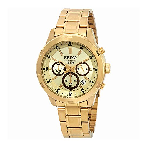 Gold Tone Chronograph Watch - Seiko SKS610 Men's Gold Tone Stainless Steel Gold Dial Date Chronograph Watch