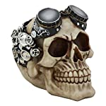 Ebros Steampunk Pilot Aviator Robotic Skull Statue Sci Fi Decor Figurine with Painted 3D Protruding Gearwork Mechanism Design 6