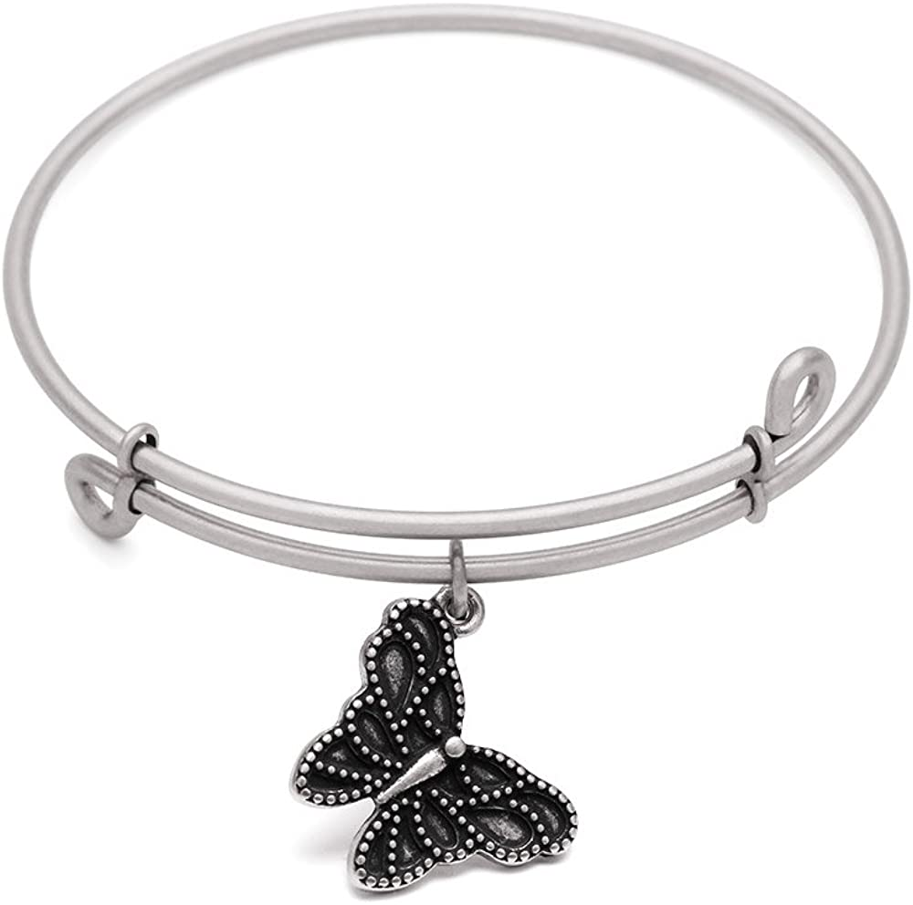 Bangle Antique Silver Color Finish SOL 210058 Butterfly