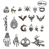 HEALIFTY 100PCS Vintage Skeleton Decorative Supplies Tibetan Silver Decorative Old Fashioned Human Skeleton for Necklace Bracelets Jewelry DIY Making