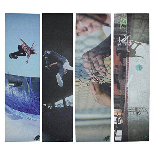 MobスケートボードGriptape Rhino Skaters 4パックグリップテープ – 4シート – 9 x 33