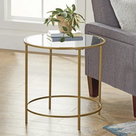 Better Homes and Gardens Safety-Tempered Glass Top Versatile Gold Nola Side Table