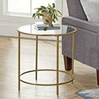 Better Homes and Gardens Safety-Tempered Glass Top Versatile Gold Nola Side Table, Finished on All Sides (Assembled Dimensions: 22 x 22 x 22) (Gold)