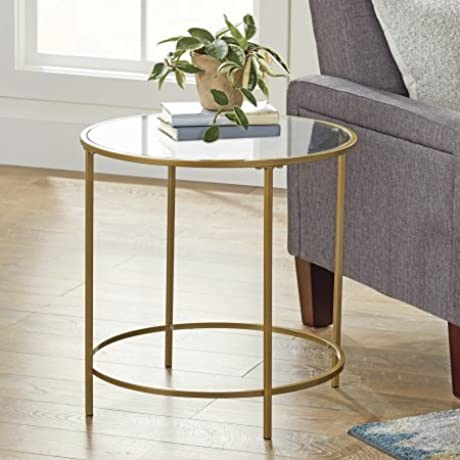 Better Homes And Gardens Safety Tempered Glass Top Versatile Gold Nola Side Table Finished On All Sides Assembled Dimensions 22 X 22 X 22 Gold