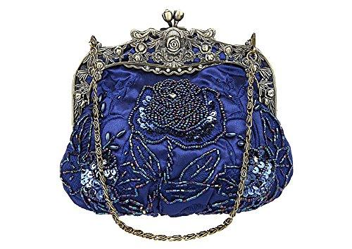 Evening Party Clutch ILISHOP Darkblue Antique Beaded Rose Women's Vintage Handbag Purse nqqI8Atfx