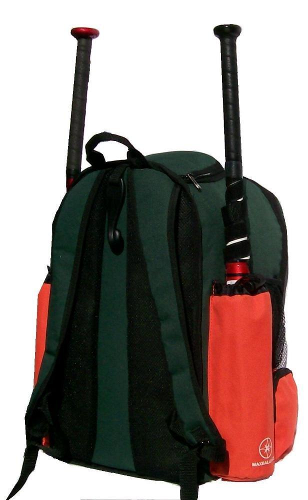 MAXOPS Maxballbags Dark Green and Orange Chita CY Small Softball Baseball Bat Equipment Backpack DGORCY