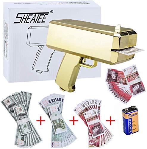 Sheatee gold gun super gun spray gun dollar shooter gun make it rain gun and 300 pcs play money - cash gun funny party game Supplies (Best Spray Gun For The Money)