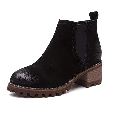 Botas de Mujer Tobillo de Las Mujeres Talones Cuadrados Chelsea Bota Casual Zapatos Cortos Slip-on Botines: Amazon.es: Zapatos y complementos