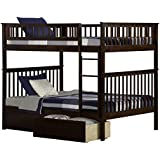 Atlantic Furniture Woodland Bunk Bed with Urban Bed Drawers, Antique Walnut, Full Over Full