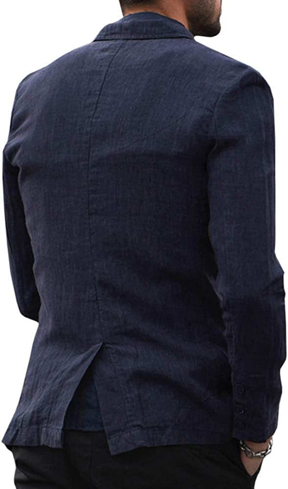 Fueri Mens Casual Blazer Slim Fit Suits Linen Solid One Button Lightweight Coat Jackets